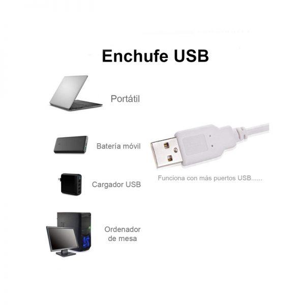 anillo de luz enchufe USB