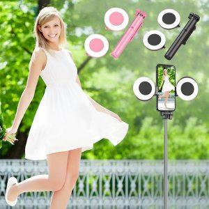 palo selfie con 2 aros de luz